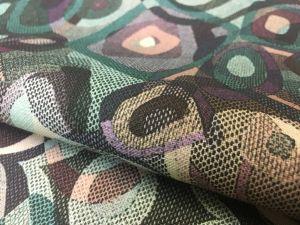 150 см. Export Ткань льняная для платья с рисунком Mind master