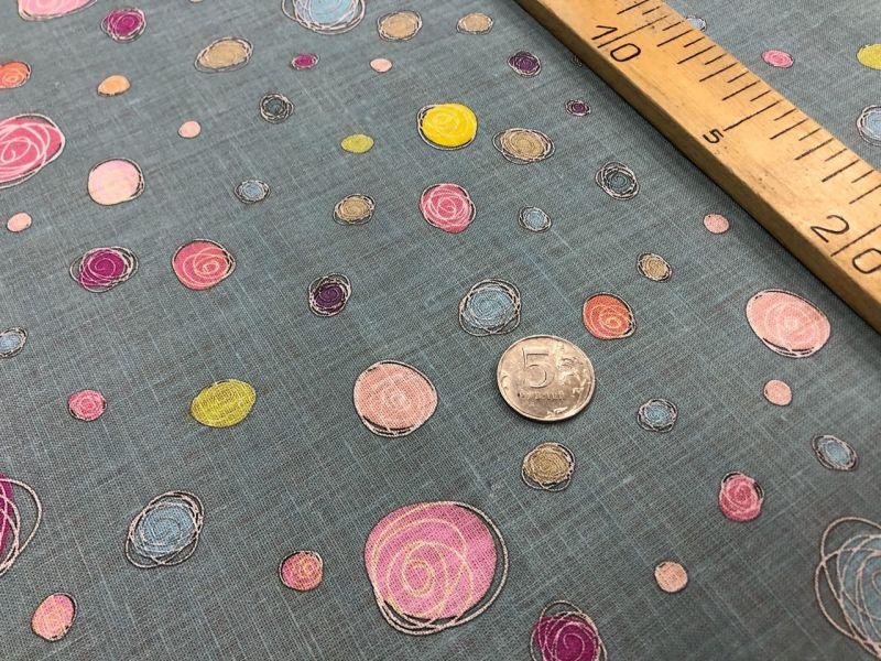 150 см. Ткань Лён-Батист с рисунком Circle