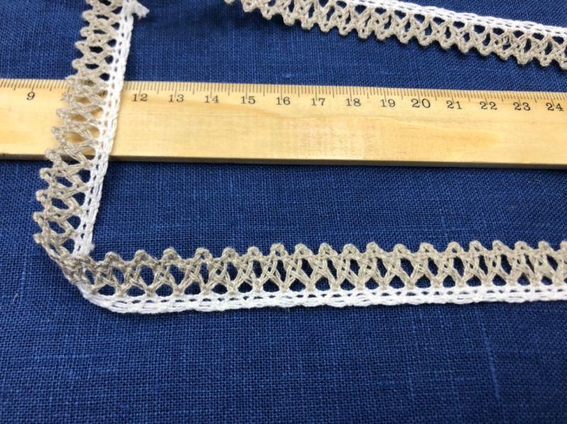 20 мм. Узкое льняное кружево с вензельками