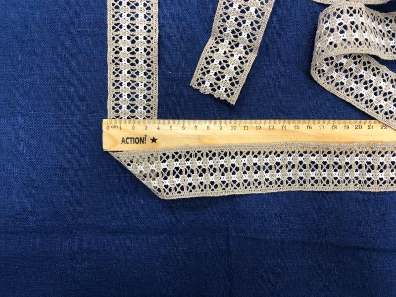 40 мм Льняное кружево лента с геометрическим рисунком