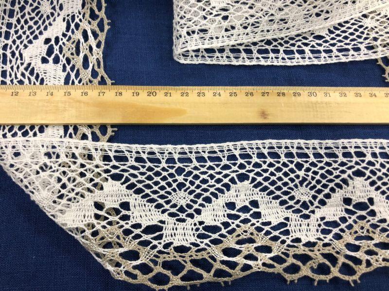 80 мм Широкое кружево льняное белое ажурное с серой каймой