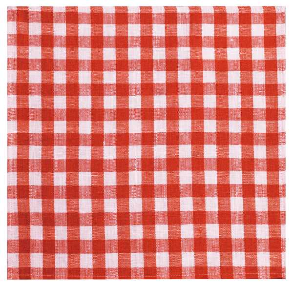 45х45 Столовая льняная салфетка в красную клеточку