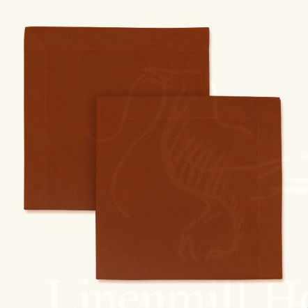 Столовая льняная салфетка 45х45 цвета охра