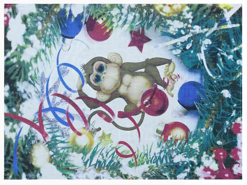 50х70 Льняное новогоднее полотенце Год Обезьяны
