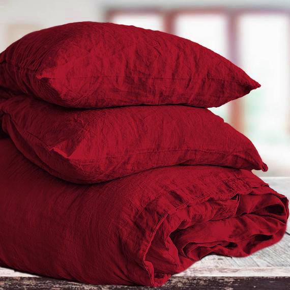 50х70 Красная льняная наволочка