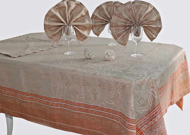 175х245 Большая льняная скатерть с салфетками Франческа