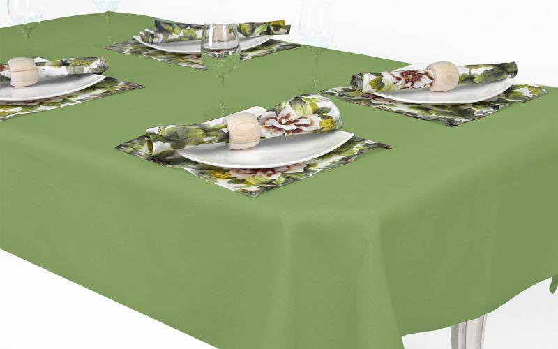 144х250 Льняная скатерть с салфетками салатовая Акварель