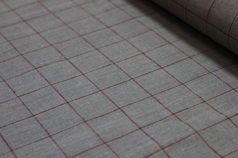 150 см. Холщовая ткань для штор в клетку