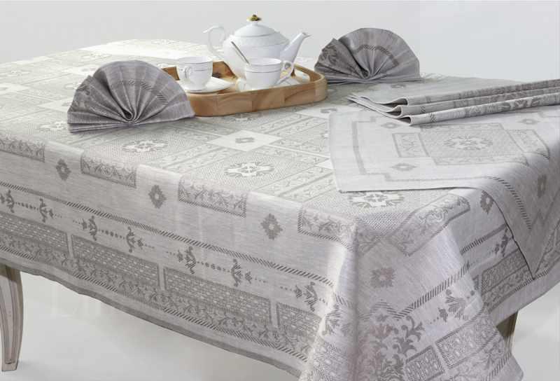150x250 Льняная скатерть с салфетками Гламур