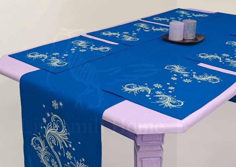 """40х250 Комплект столовый к праздникам """"Метель Blue"""""""