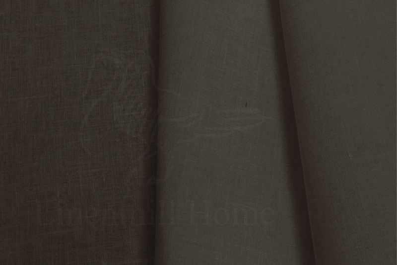 260 см. Широкая льняная ткань коричневого цвета Choko