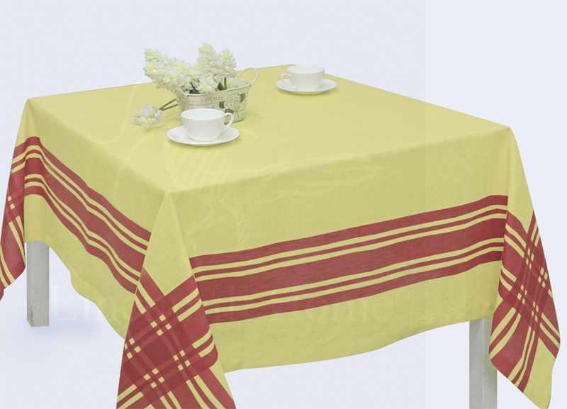 150х150 Желтая квадратная льняная скатерть