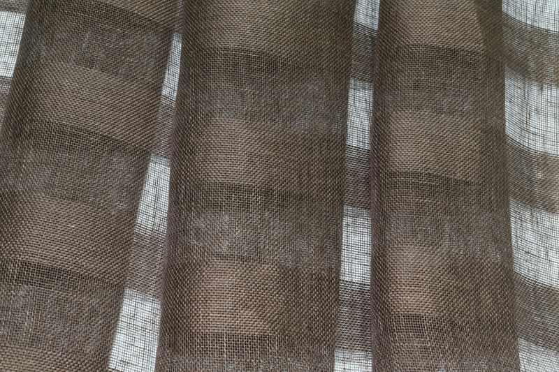 260 см. Широкий тюль Лён коричневый