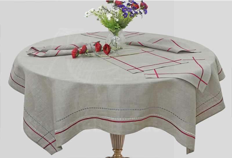 143х143 Декоративная льняная скатерть Trentino с салфетками