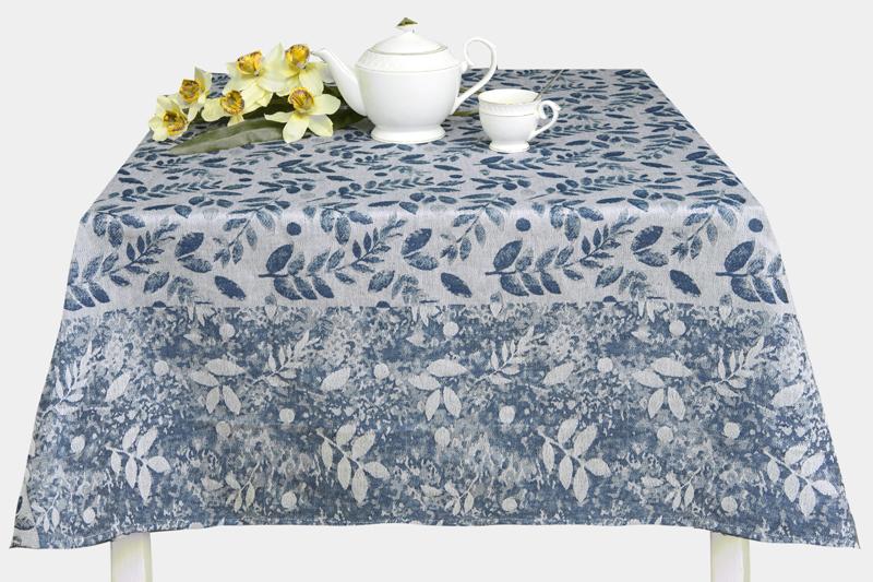 150х250 Скатерть с листьями Сонет blue