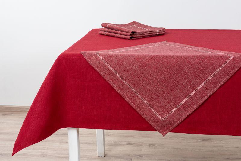 143х120 Льняная красная скатерть с салфетками Милан
