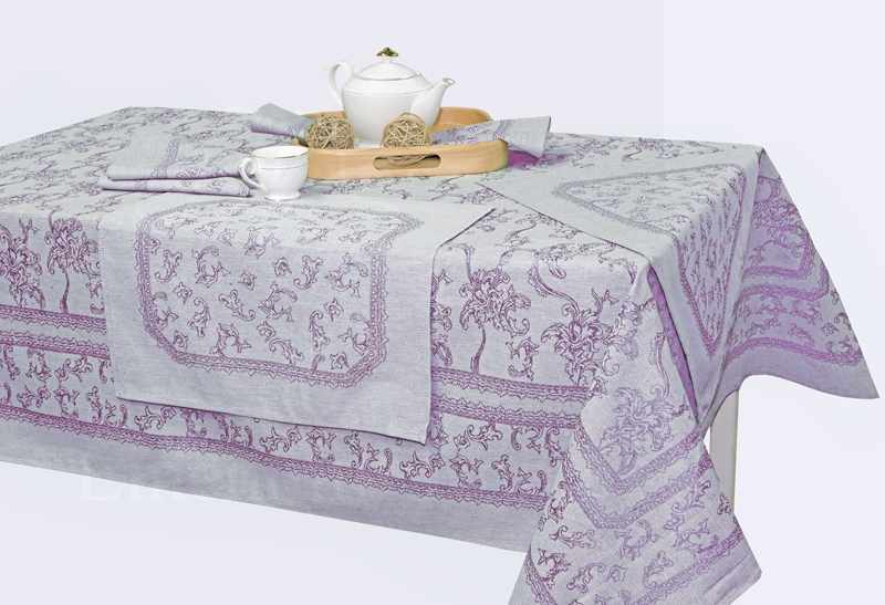 150х150 Льняная скатерть с салфетками Луиза