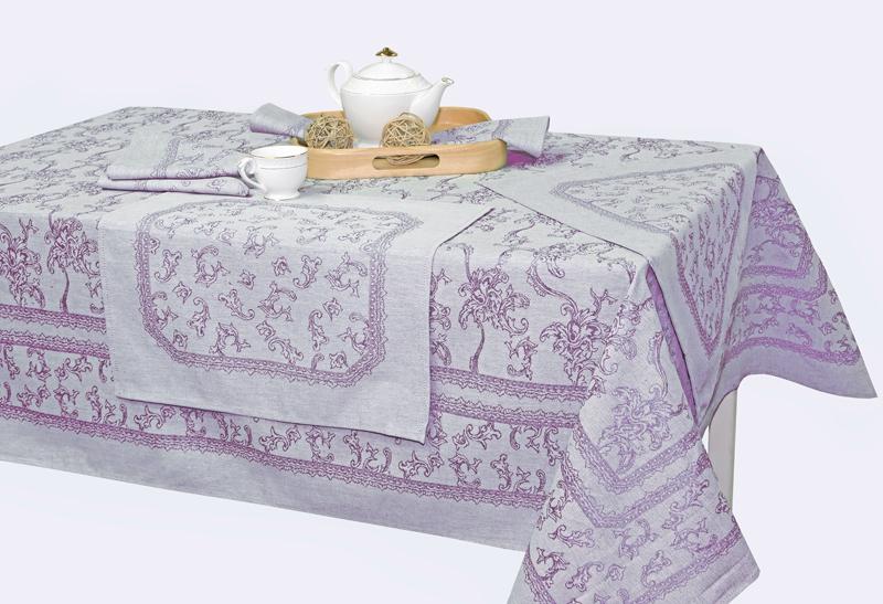 150х150 Квадратная жаккардовая скатерть с салфетками Луиза