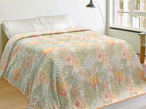 200х240 Плед из льна с рисунком цветов Гибискус