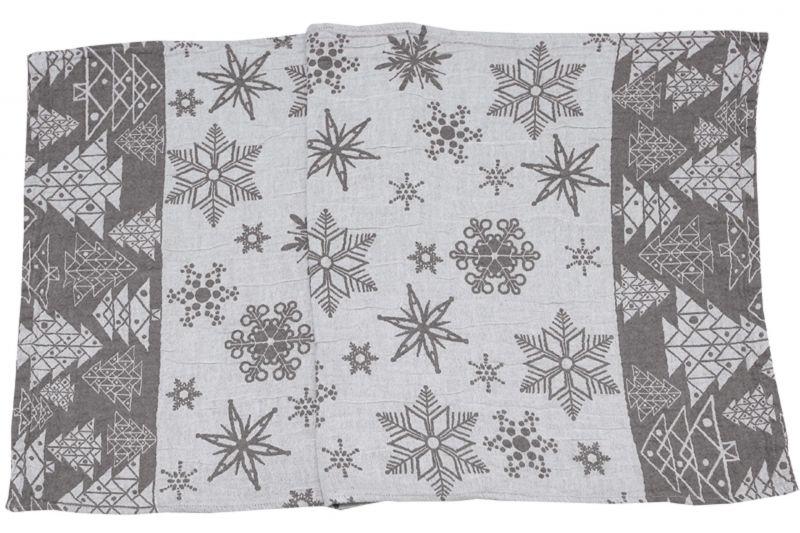 50х115 Новогоднее банное полотенце Елки grey