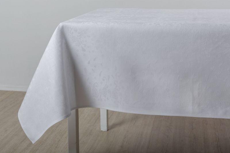 150х200 Белая прямоугольная скатерть Катюша