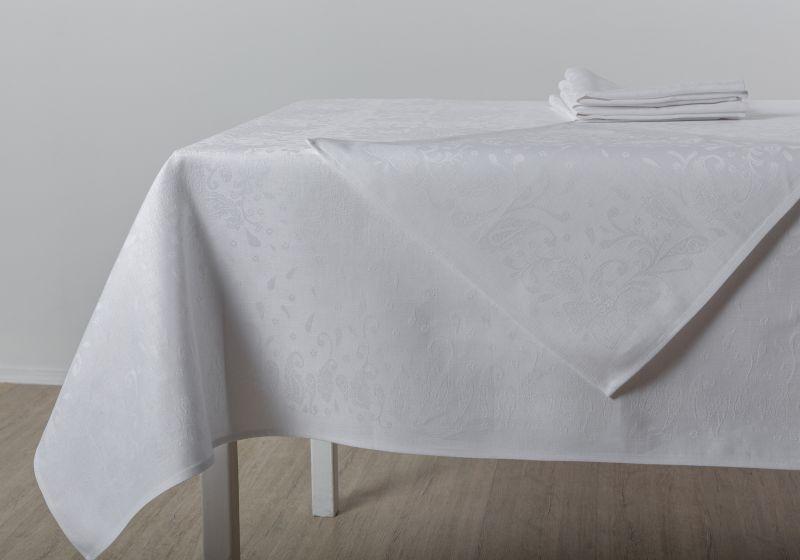 150х250 Белая льняная скатерть с салфетками Катюша