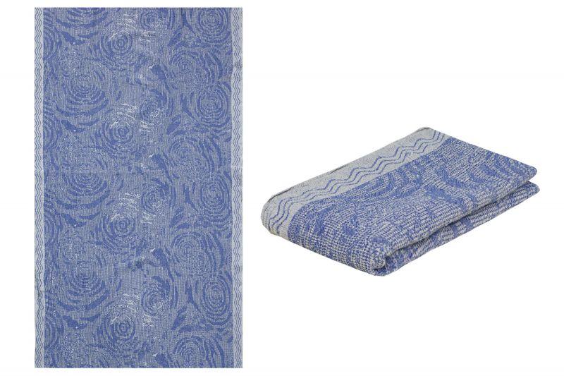 100х160 Синие вафельное полотенце лен/хлопок