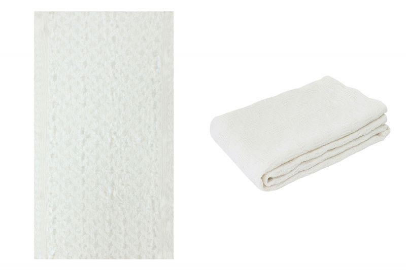 80х145 Белое банное вафельное полотенце Абстракция