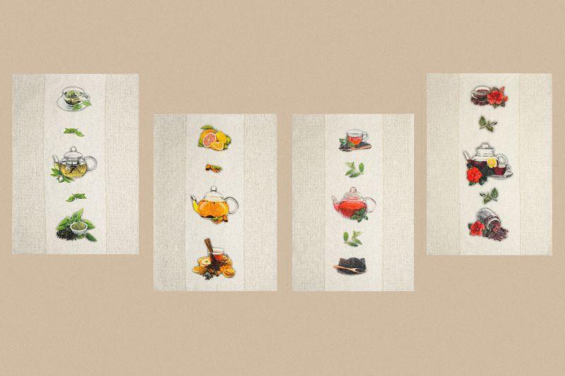 Набор кухонных полотенец Чайная церемония 4 шт