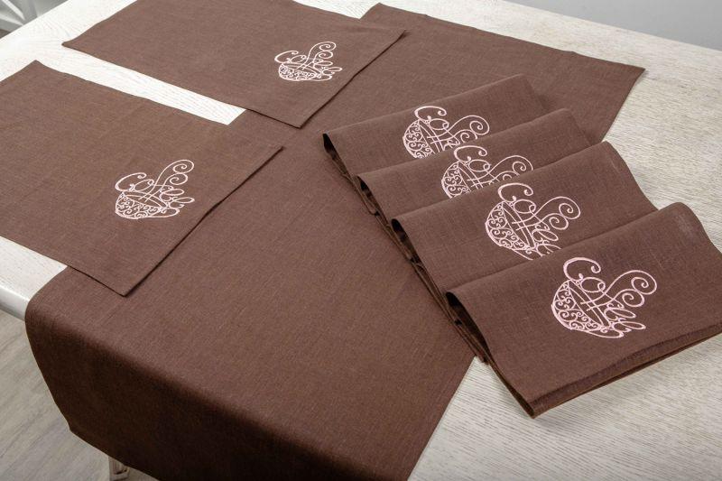 Скатерть-дорожка на стол Арабика с салфетками