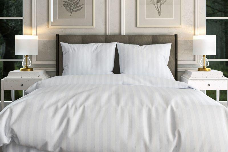 Белое льняное 2 спальное бельё Полоса