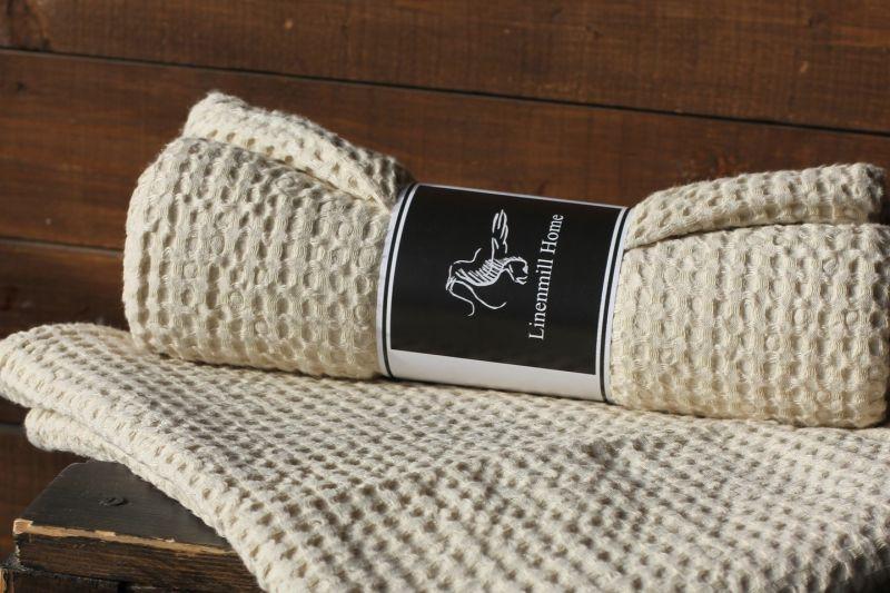 90х160 Огромное бежевое банное вафельное полотенце