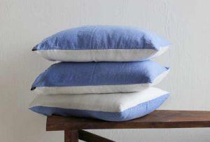 50х70 Двухцветная наволочка бело-голубая