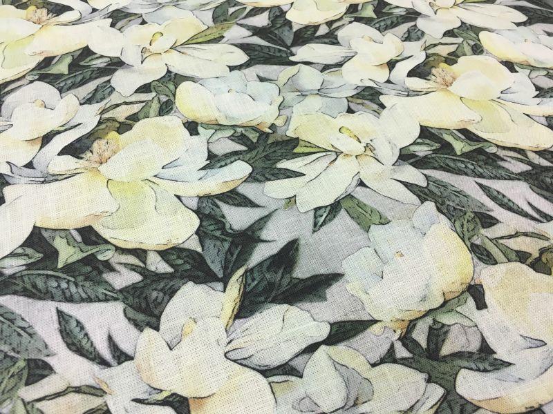 150 см. Льняная ткань для платья Iris flowers