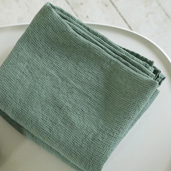 70х135 Зеленое банное вафельное полотенце