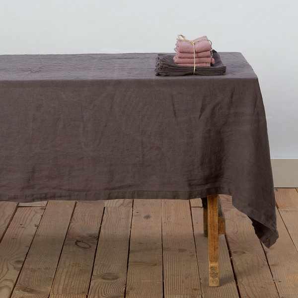 180х220 Прямоугольная коричневая скатерть Soft linen
