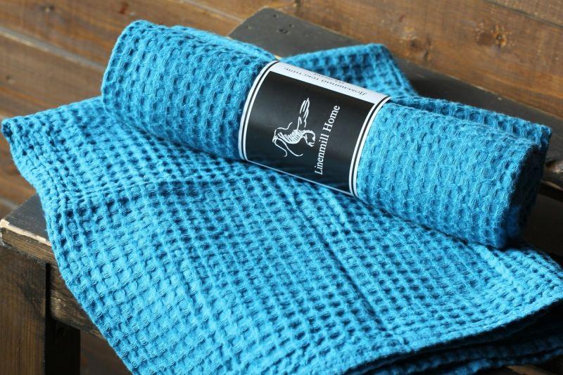 70х130 Большое бирюзовое банное вафельное полотенце