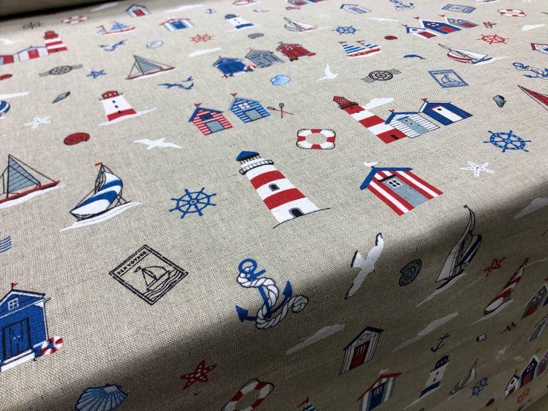 150 см. Льняная ткань для штор с морской тематикой