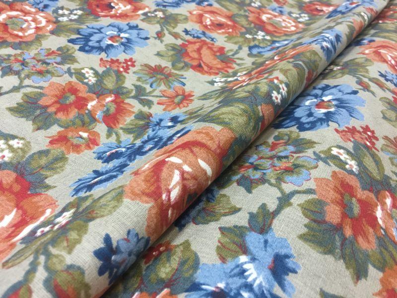 150 см. Ткань с рисунком цветов Vea на сером фоне