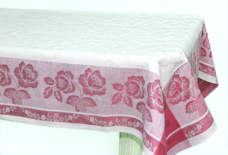 150х200 Белая жаккардовая скатерть с красным рисунком Елизавета