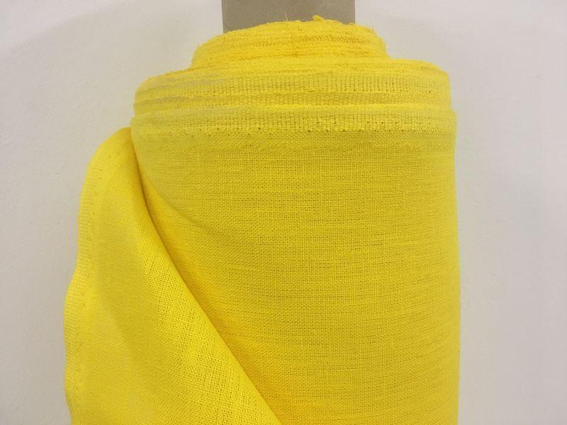150 см. Плотная однотонная ткань желтого цвета 100% лен