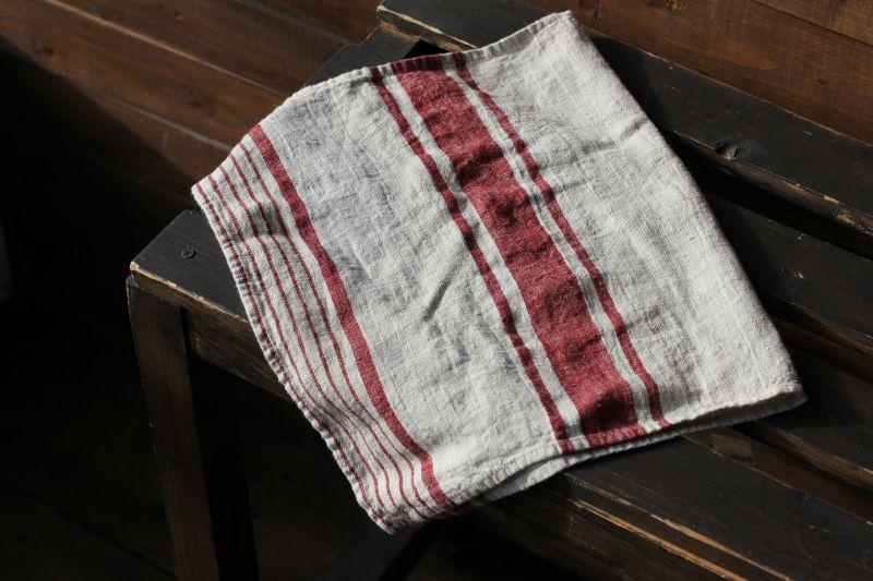 40х70 Льняное полотенце Line Red