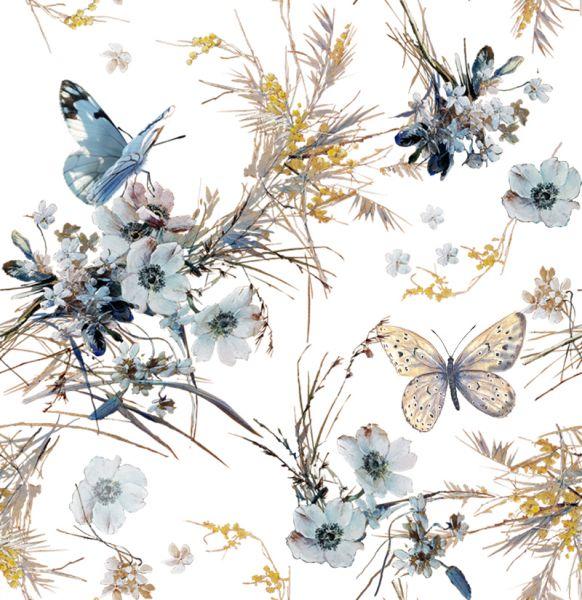 150 см. Ткань льняная для платья с рисунком Голубянка