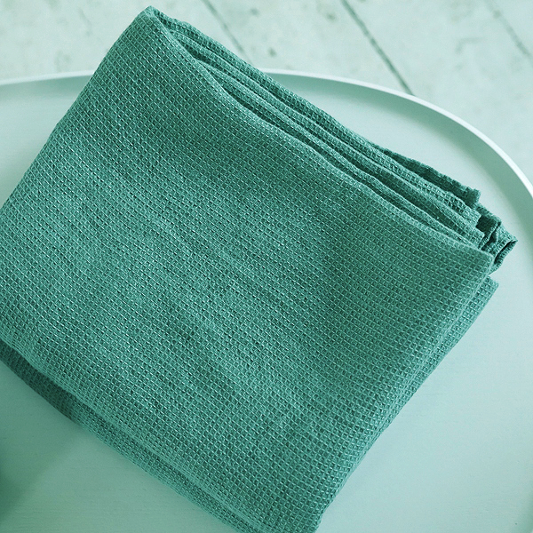 70х135 Бирюзовое банное вафельное полотенце