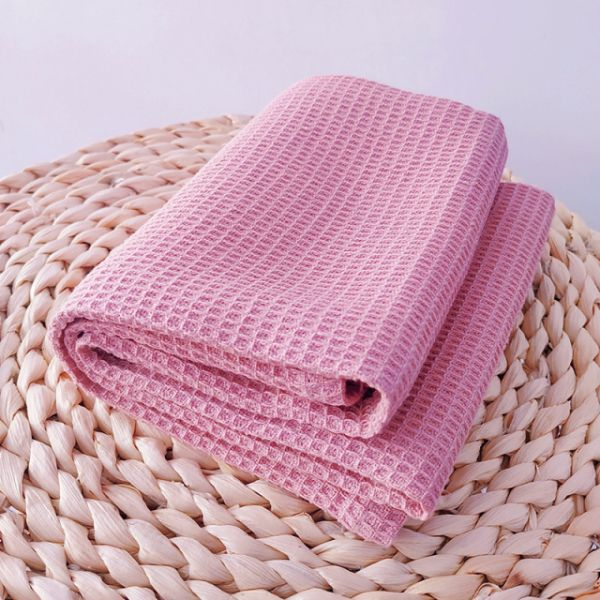 70х120 Розовое вафельное полотенце