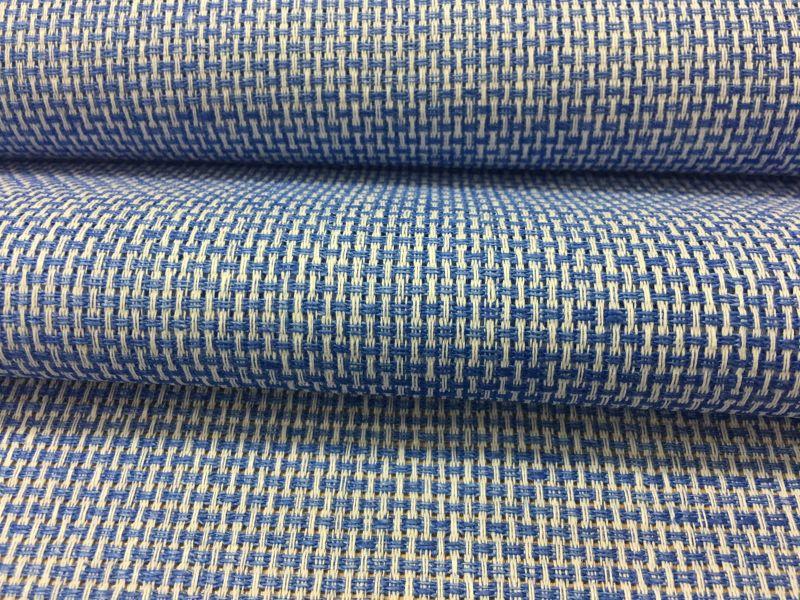150 см. Декоративная льняная ткань для штор Ажурная синяя