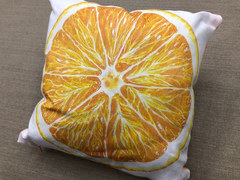 40х40 Подушка декоративная изо льна Апельсин