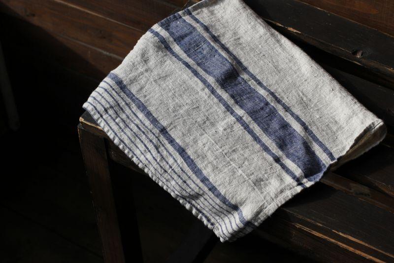 40х70 Льняное полотенце Line Blue