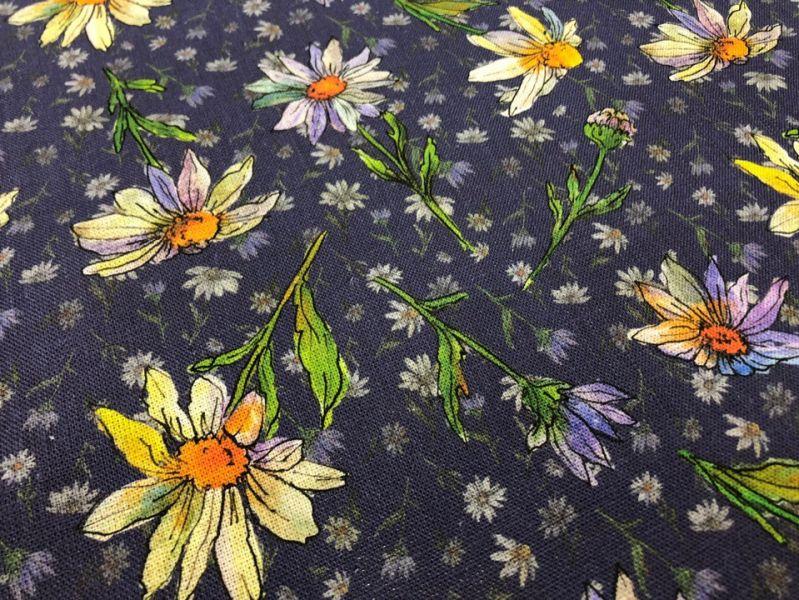 150 см. Льняная ткань для платья Champ de Camomille