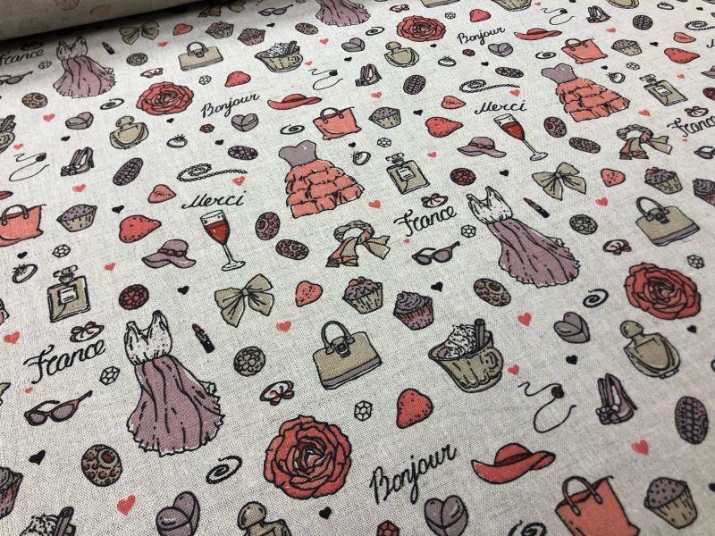 150 см. Льняная ткань с рисунком Модная штучка